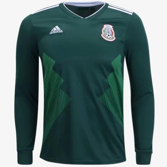 badbda4e7a4d1 adidas Mexico Long Sleeve Home Jersey 2018 FIFA